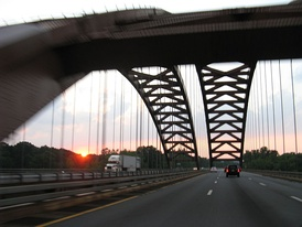 The Thaddeus Kosciusko Bridge, crossing the Mohawk River, is the portion of the toll-free, six-lane Adirondack Northway that connects Halfmoon in Saratoga County to Colonie in Albany County.