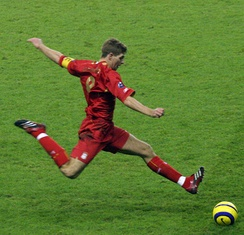 Best known for his ball striking from distance, Gerrard in action for Liverpool during a UEFA Champions League game in November 2005