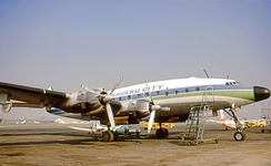 McCulloch Properties Lockheed Constellation used to transport prospective purchasers to Lake Havasu City in the early 1970s and wearing the city's name.