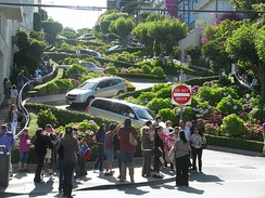 "Lombard Street is a popular tourist destination in San Francisco, known for its ""crookedness"""