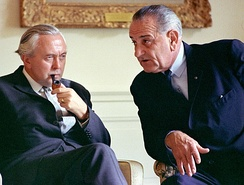 Wilson with President Lyndon B. Johnson at the White House in 1966