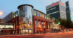 Bell MTS Place is an indoor arena in downtown Winnipeg. It is the home arena of the NHL's Winnipeg Jets and the AHL's Manitoba Moose.