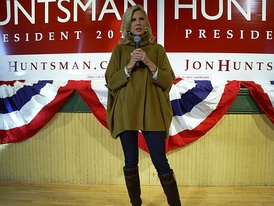 Huntsman's wife Mary Kaye campaigning in New Hampshire ahead of the primary.