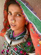 A Meghwal woman in the Hodka village, north of Bhuj.