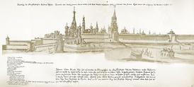 Красная площадь. Царь-пушка и «Павлин» на настиле у Лобного места. 1661 год