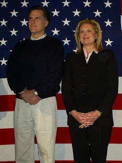 Mitt and Ann Romney on December 22, 2007, at a campaign event in Londonderry, New Hampshire