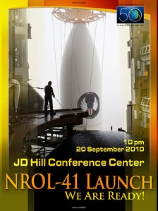 Close-up of Atlas 501 payload fairing with NROL-41 satellite (poster commemorating 50 years of NRO).