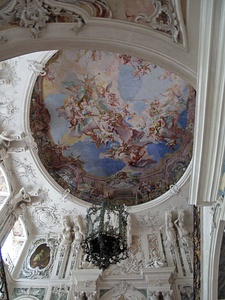 Looking up the central stairway at Augustusburg Palace in Brühl by Balthasar Neumann (1741–1744)