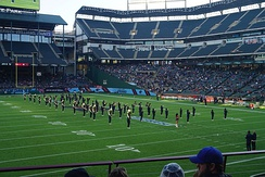 Langston University Marching Pride performing during halftime of a Dallas Renegades game