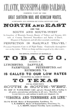 Advertisement for the Atlantic, Mississippi & Ohio Railroad from 1880, one year before its merger into the Norfolk and Western Railway