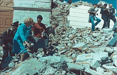 Pat Nixon famously visited Peru in June 1970 where she aided in taking relief supplies to earthquake victims (above) and visited children in hospitals (below). The trip was noted for its lasting diplomatic impact.