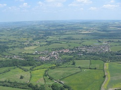 Aerial photo of Pensford with the viaduct in the foreground