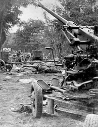 A bombed Polish Army column during the Battle of the Bzura.