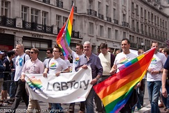 Members of LGBT+ Conservatives with a banner reading LGBTory. The group is the LGBT wing of the United Kingdom's Conservative Party.