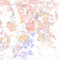 Map of racial distribution in Dallas, 2010 U.S. Census. Each dot is 25 people: White, Black, Asian Hispanic, or Other (yellow)