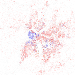 Map of racial distribution in Louisville, 2010 U.S. Census. Each dot is 25 people: White, Black, Asian, Hispanic or Other (yellow)