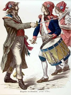 Sans-culottes wearing iconic Phrygian caps and tricolor cockades