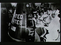 Brother Wally Schirra entering capsule Sigma 7 (1962)