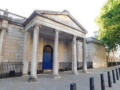 Portico of Dover House in Whitehall, London, the headquarters of the Scotland Office, formerly the Scottish Office
