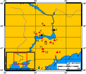 Distribution of Scythian kurgans and other sites along the Dnieper Rapids during the Classical Scythian period