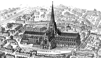 Reconstructed image of Old St Paul's before 1561, with intact spire