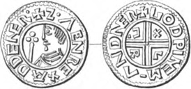 "A coin of Sweyn Forkbeard, minted in 995; this is the earliest known coin with a Latin inscription minted in Scandinavia, based on Anglo-Saxon models and made by an English moneyer (obv.: ZVEN REX AD DENER  ""Sven, king of [or among] the Danes"", rev.: GOD-WINE M-AN D-NER ""Godwine, moneyer among the Danes"").[3]"