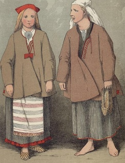 A peasant girl and a woman in traditional dress from Ruokolahti, eastern Finland, as depicted by Severin Falkman (fi) in 1882