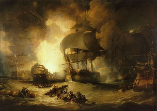 The Destruction of 'L'Orient' at the Battle of the Nile, 1 August 1798, oil on canvas by George Arnald (1825-1827). Defeat at the Battle of the Nile left Bonaparte and his army stranded in Egypt. National Maritime Museum, Greenwich, England