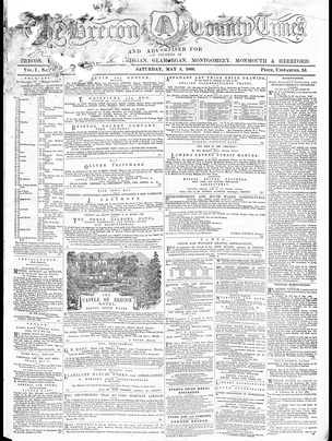 Front page of the earliest surviving copy on The Brecon County Times, 5 May 1866