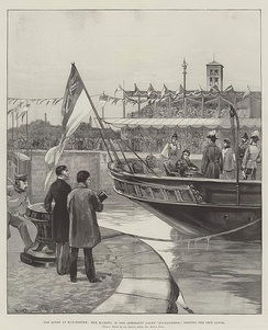 The Queen at Manchester, Her Majesty, in the Admiralty Yacht Enchantress, opening the Ship Canal, by William Heysham Overend