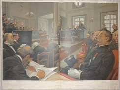 Winter supplement (23 November 1899); double print: caricature of the trial of Dreyfus