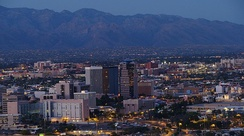 Downtown Tucson with the University of Arizona in the background