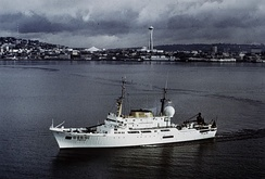 USC&GS Oceanographer (OSS 01) was flagship of the Coast and Geodetic Survey fleet from her commissioning in 1966 until the creation of NOAA in 1970.