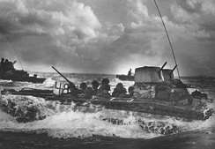 LVT-2 Water Buffalo with Marines bound for the beaches of Tinian Island, 1944