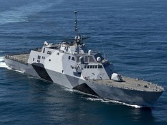 USS Freedom (LCS-1) underway in special naval camouflage