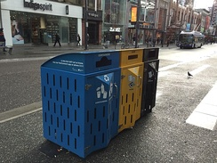 Container recycling, paper recycling and garbage bin in Vancouver.