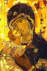 A depiction of Jesus and Mary, the Theotokos of Vladimir (12th century)