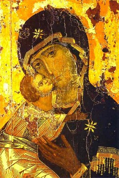 The Eleusa style icon of the Madonna with the Child Jesus nestled against her face has been depicted in both the Western and the Eastern churches.[1][2]