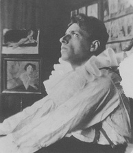 Vsevolod Meyerhold dressed as Pierrot for his own production of Alexander Blok's Fairground Booth, 1906.