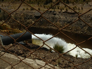 Mine wastewater effluent in Peru, with neutralized pH from tailing runoff.