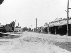Northwestern Pacific Railroad depot and surrounding street in Windsor, 1900
