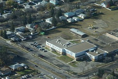 Aerial view of École monseigneur de Laval, a public francophone elementary school in Saskatchewan. French has been permitted as an instructional language in Saskatchewan's public schools since 1968.