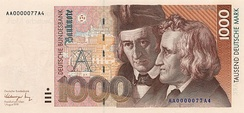 The Brothers Grimm and historic buildings of Kassel on the last 1000 DM banknote