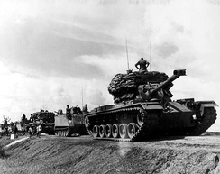 A US tank convoy during the Vietnam War