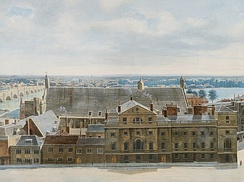 Detail from A Panoramic View of London, from the Tower of St. Margaret's Church, Westminster (1815) by Pierre Prévost, showing the Palace of Westminster