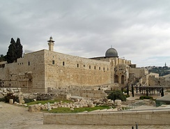 Al-Aqsa Mosque, in the Old City of Jerusalem, is said to be the location to which Muhammad traveled in his night journey. The location is the third holiest place for the Muslims.[226]