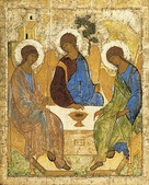 Holy Trinity, Hospitality of Abraham; by Andrei Rublev; c. 1411; tempera on panel; 1.1 x 1.4 m (4 ft 8 in x 3 ft 8​3⁄4 in); Tretyakov Gallery (Moscow)