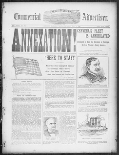 Newspaper reporting the annexation of the Republic of Hawaii in 1898