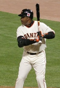 3-time winner Barry Bonds at the plate with the Giants