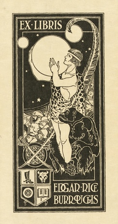 Bookplate of Edgar Rice Burroughs, showing Tarzan holding the planet Mars, surrounded by other characters from Burroughs' stories. Circa 1918, designed by Studley Oldham Burroughs, the author's nephew[32]